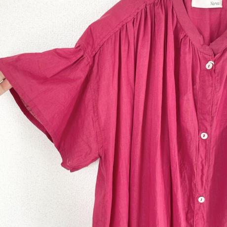 Slub long shirt dress
