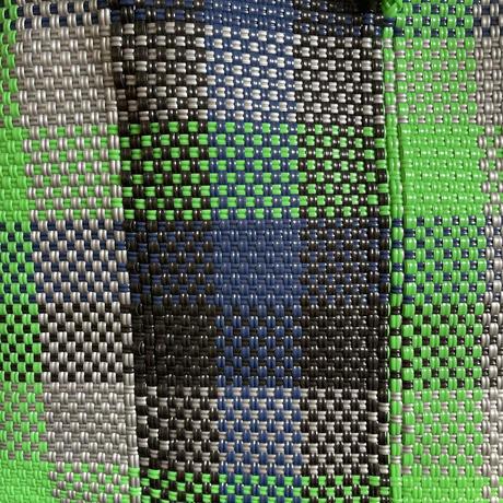 Mercado bag -green×navy check-
