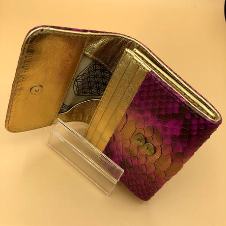 パイソン 二つ折りミニタイプ ワイルドピンク×ゴールド