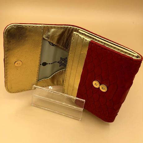 パイソン 二つ折りミニタイプ レッド×ゴールド