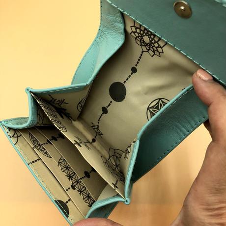パイソン 二つ折りミニタイプ  ギャラクシー×内側ブルー