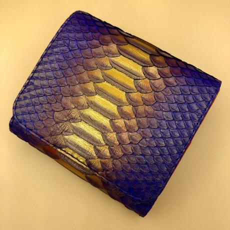 パイソン 二つ折りミニタイプ  ブルーパープル×内側レッド