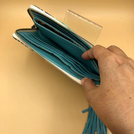 パイソン  L字ファスナー ナチュラル水色×ブルー