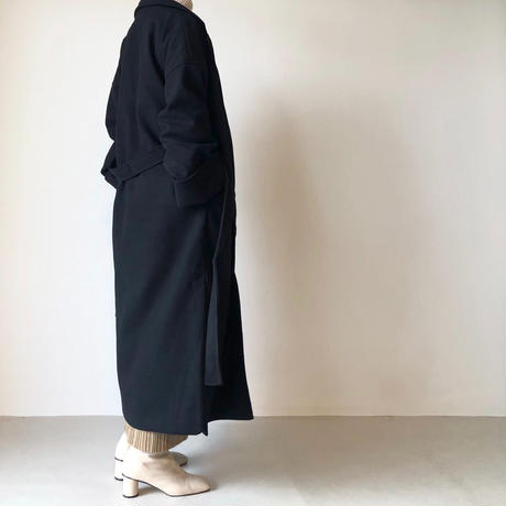 ガウン風サイドスリットマキシコート/ブラック