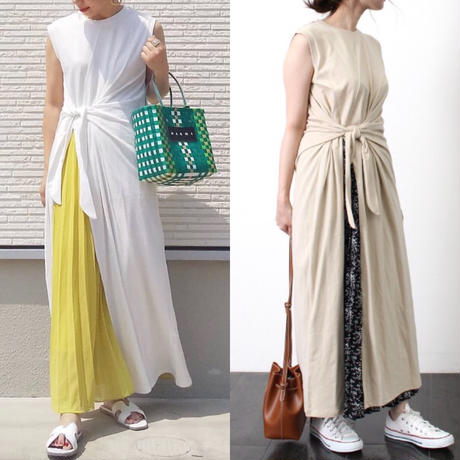 即納/ribbon slit maxi one-piece/2color