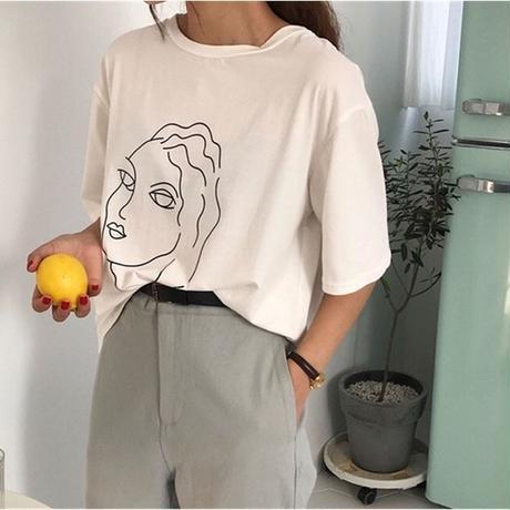 即納/face T shirt