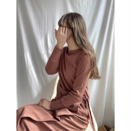 エプロンデザインリブロングワンピース/ブラウン