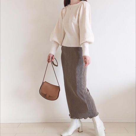 細プリーツタイトスカート/モカブラウン