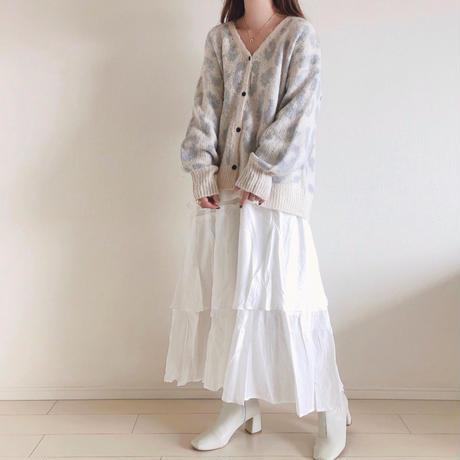 モヘアタッチアニマル柄ニットカーディガン/ホワイト