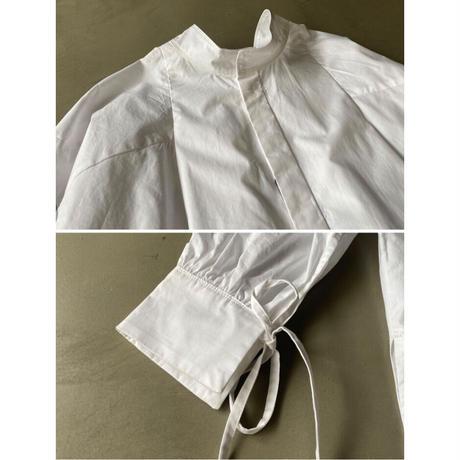 再入荷 タイプライター袖リボンビッグシャツ/ホワイト