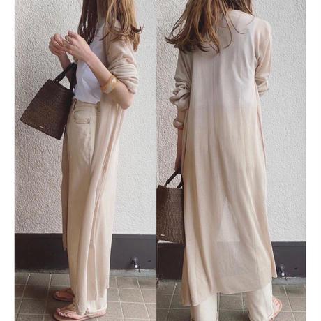 linen touch sheer long cardigan