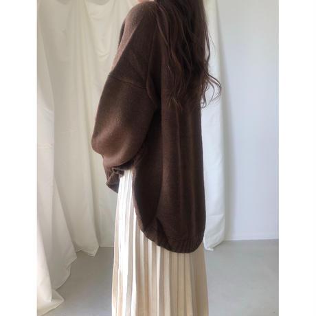 ウールアルパカ混 裾ラウンドオーバーニット/ブラウン