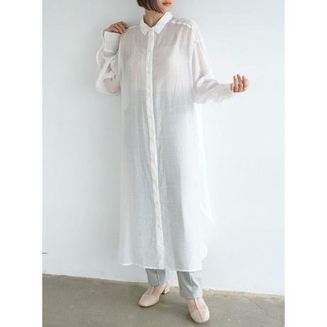 シアーボイルロングシャツワンピース/ホワイト