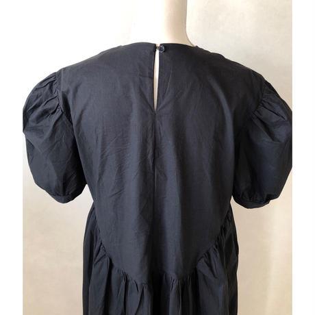 balloon sleeve cotton one-piece/ブラック