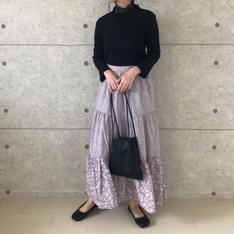 flower tiered skirt/パープル
