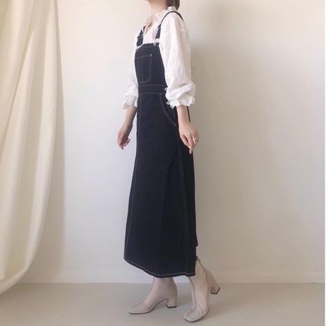 配色ステッチジャンスカサロペット/ブラック