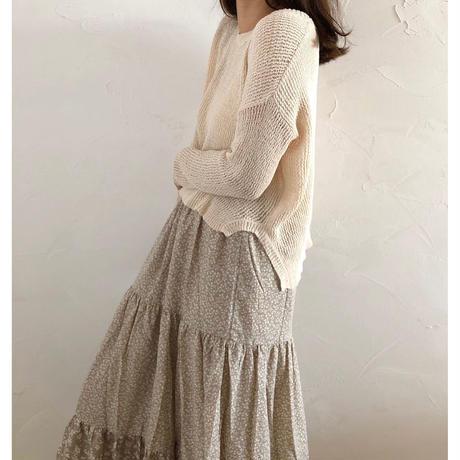 flower tiered skirt/ベージュ