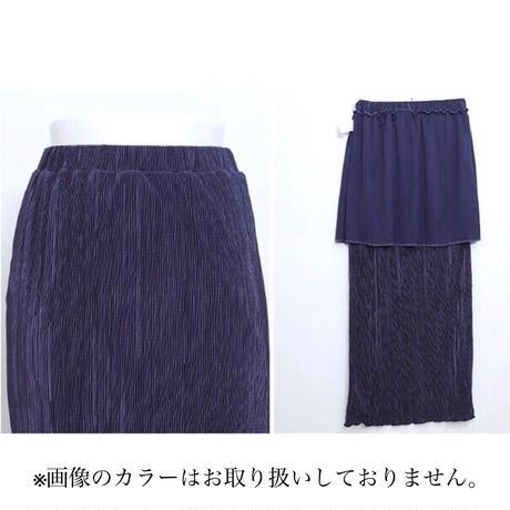 細プリーツタイトスカート/グレージュ