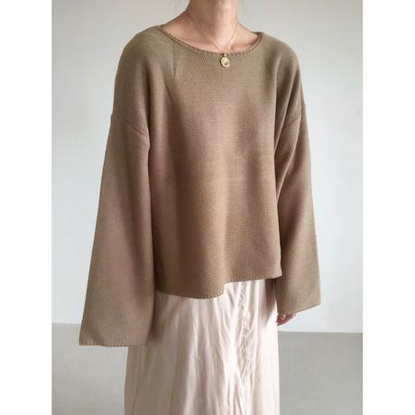 flare sleeve knit pullover/ベージュ