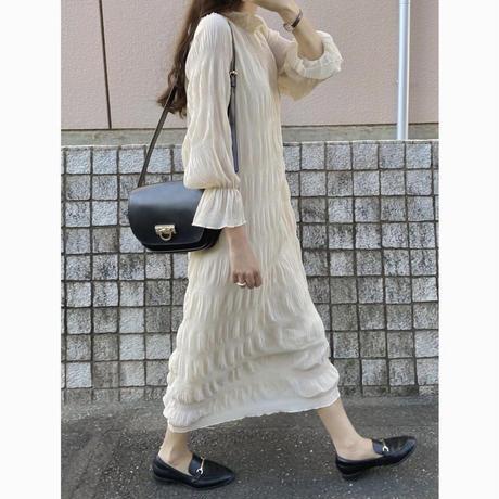 【人気NO.1アイテム】シフォンシワプリーツロングワンピース/アイボリー