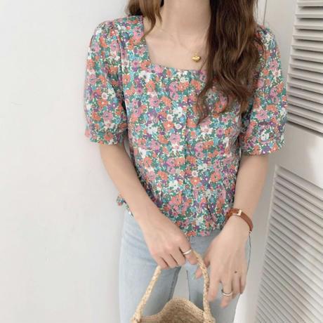 flower front open  blouse/2color
