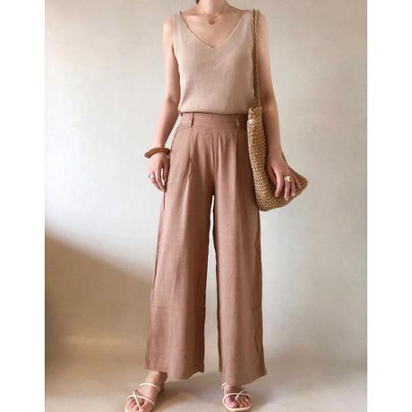 linen mix  relax wide pants/2color