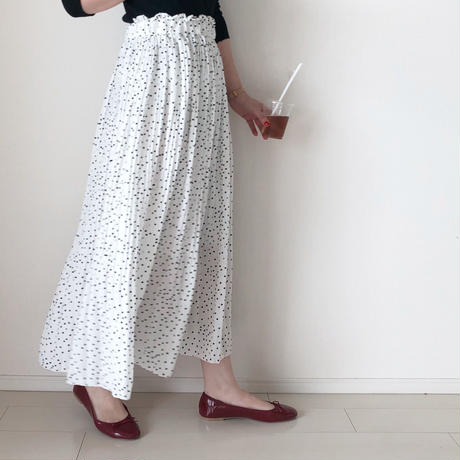 即納/dot pleats-skirt
