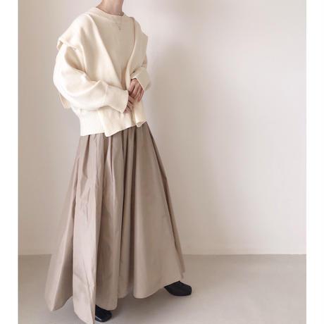 新色 タフタフレアマキシスカート/ライトベージュ