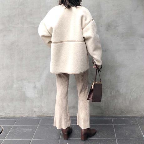 【先行10%OFF】リバーシブルフェイクムートンボアミドルコート/アイボリー