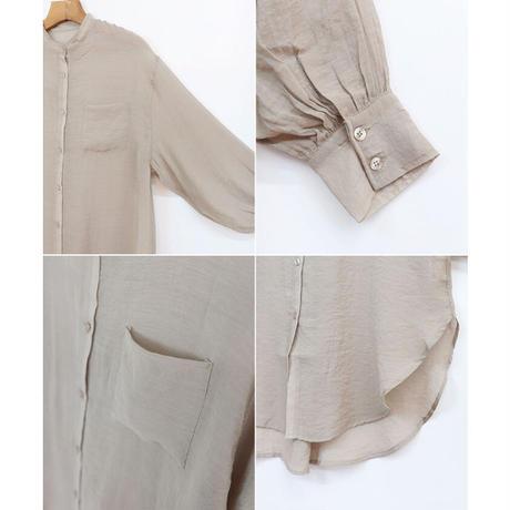 シアーオーバーサイズロングシャツ/ラベンダーグレー