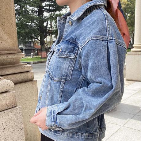 back gather denim jacket