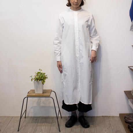 Gauze#(ガーゼ)band collar antique shirts one-piece