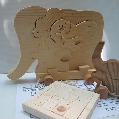 プレゼント福袋  大きいゾウ ゾウの親子輪投げ 積み木パズル