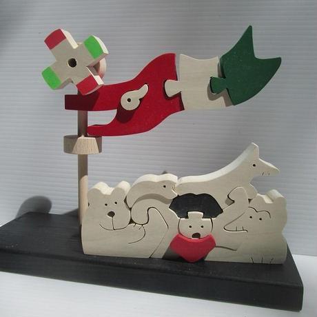 鯉のぼり金太郎組み木  ( 送料無料)