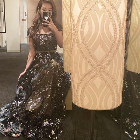 スパンコールロングドレス