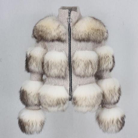 リアルファーパッチワークジャケット 4色展開