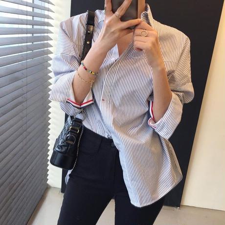 即納♡ポイントカラーシャツ 2色展開