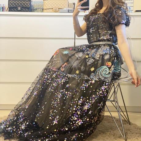 即納♡スパンコールロングドレス