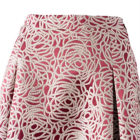 総柄コード刺繍 ジャガードフレアスカート(レッド)