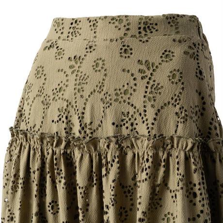 アイレット刺繍レース切替スカート(カーキ)