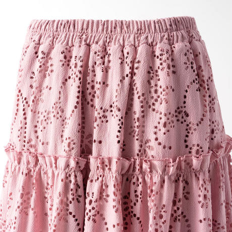 アイレット刺繍レース切替スカート(ピンク)