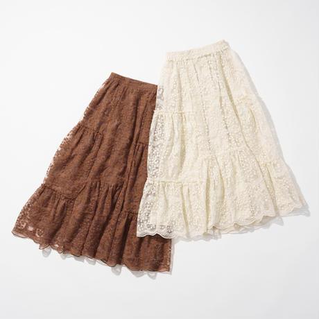ナデシコ刺繍レース切替フレアスカート(ブラウン)