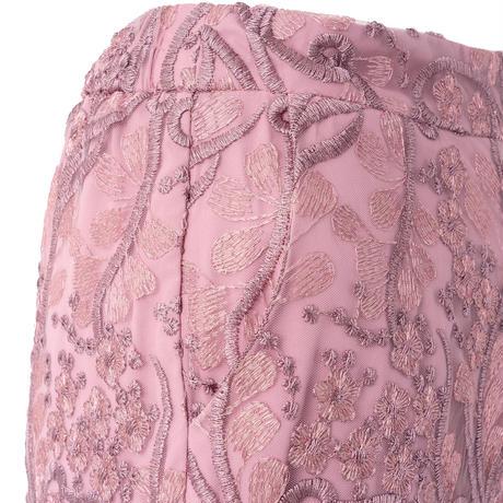 総柄刺繍レースストレートパンツ(パープル)