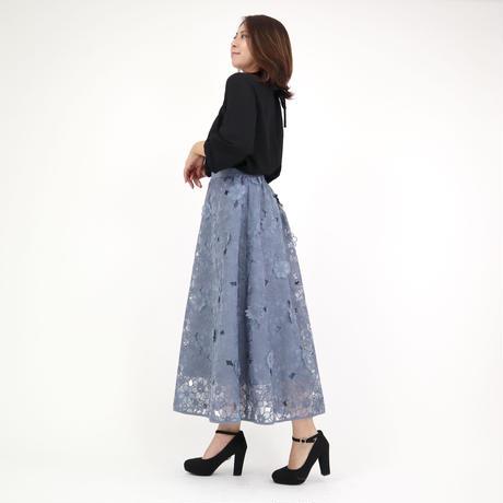 立体フラワー刺繍レーススカート(ブルー)