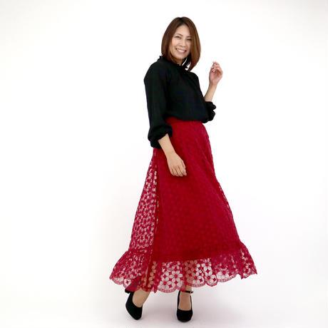 モダン花柄刺繍レース切替スカート(ボルドー)