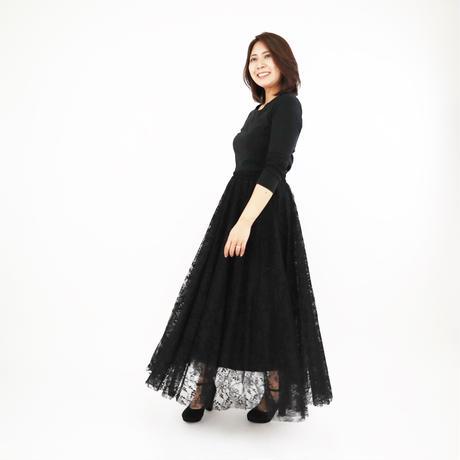 ボリュームチュールレーススカート(ブラック)