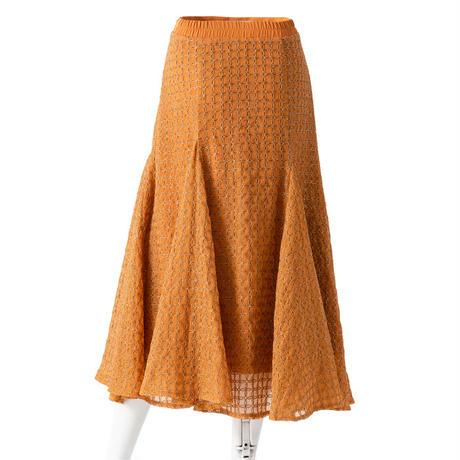 総刺繍シフォンサーキュラースカート(オレンジ)
