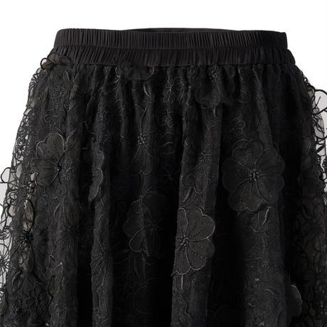 立体オーガンジーサーキュラースカート(ブラック)