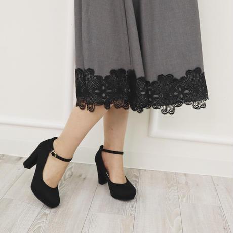モチーフレースドレススーツスカート(グレー)