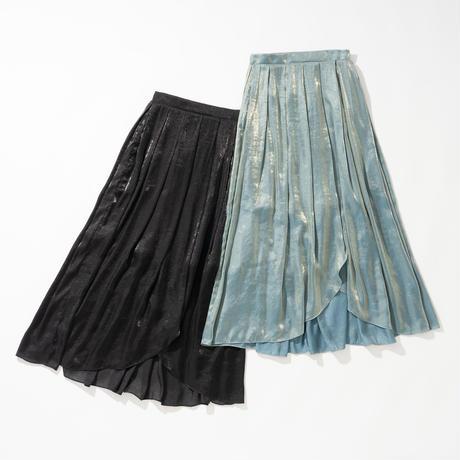 フロントスリット偏光色スカート(ブラック)